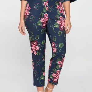 Eloquii Crepe Navy Floral Pants NWT